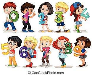 zéro, neuf, nombre, tenue, enfants