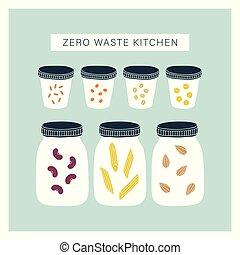 zéro, pantry., gaspillage, cuisine