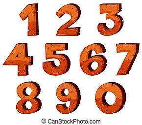 zéro, police, conception, nombres, une