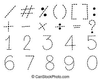 zéro, signes, nombre, math, une