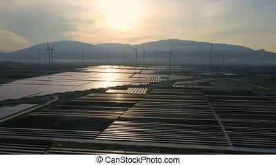 zéro, turbines, émissions, vent, mélangé, électricité, ...