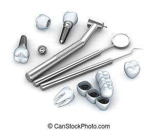 z�hne, implantate, und, dental