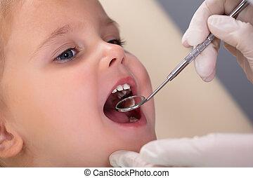 z�hne, untersuchen, mädchens, zahnarzt, wenig, klinik