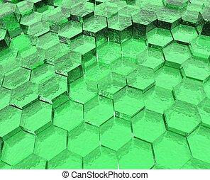 zöld, áttetsző, hatszögek