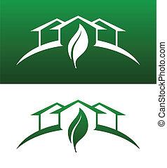 zöld épület, fogalom icons, mindkét, szilárd, és, hátlap