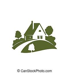 zöld épület, ikon, noha, kert, fa, berendezés, és, pázsit