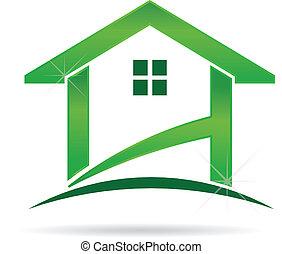 zöld épület, jel