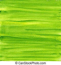 zöld, és, sárga, vízfestmény, elvont, képben látható, vászon