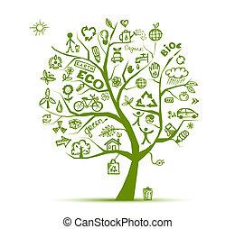 zöld, ökológia, fa, fogalom, helyett, -e, tervezés