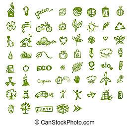 zöld, ökológia, ikonok, helyett, -e, tervezés