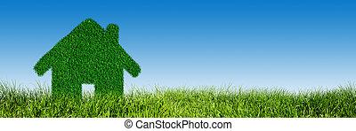 zöld, ökológiai, épület, ingatlan tulajdon, fogalom