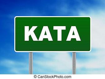 zöld, út cégtábla, -, kata, thaiföld
