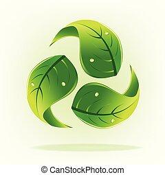 zöld, őt lap, noha, csepp, víz, fogalom, közül, újra hasznosít jel