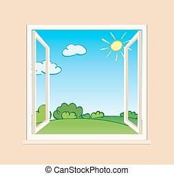zöld, ablak, nyílik, természet