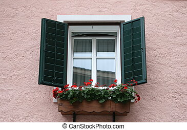 zöld, ablak