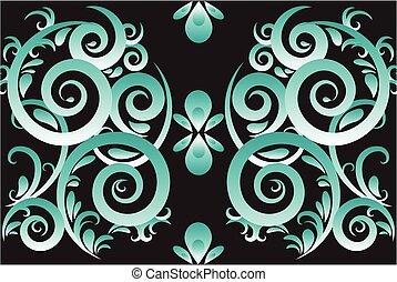 zöld absztrahál, örvény, vektor, díszítés, háttér