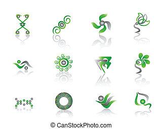 zöld absztrahál, elem