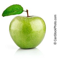 zöld alma, gyümölcs, noha, levél növényen