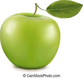zöld, apple., vektor