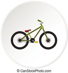 zöld, bicikli, ikon, karika