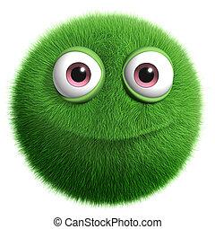 zöld, bolyhos, szörny