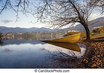 zöld, csónakázik, várakozás, helyett, nyár