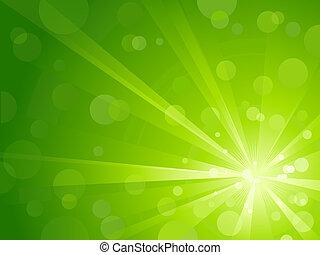 zöld csillogó, kitörés, noha, fényes, fény
