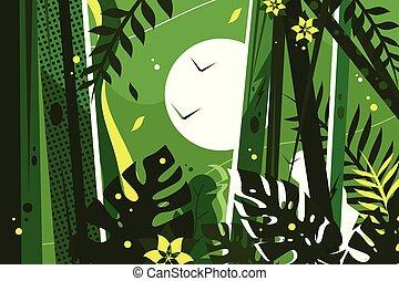 zöld, dzsungel, háttér