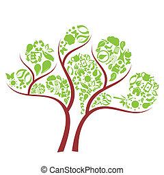 zöld, eco, fa