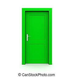 zöld, egyedülálló, ajtó, csukott