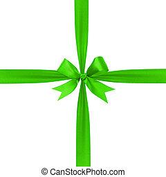 zöld, egyszerű, bekötött, szalag, íj, zenemű