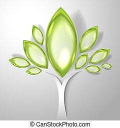 zöld, elvont, fa, áttetsző