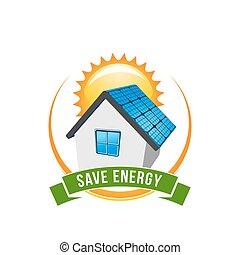 zöld, energia, megment, nap-, épület, vektor, ikon