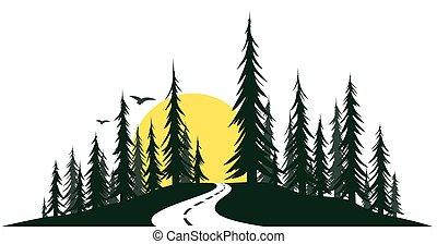 zöld erdő, road.