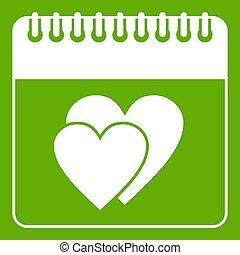 zöld, esküvő, dátum, naptár, nap, ikon