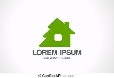 zöld, fából való, eco, épület, jel, template., tényleges, estate.
