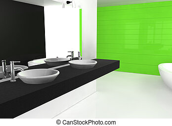 zöld, fürdőszoba, fekete