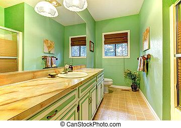 zöld, fürdőszoba, idejétmúlt, interior.