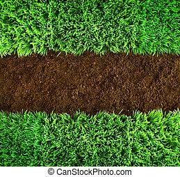 zöld fű, és, földdel feltölt, háttér