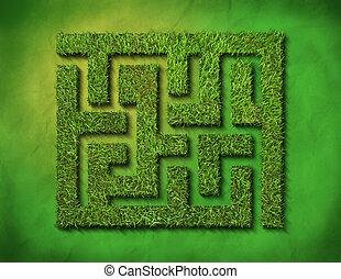 zöld fű, útvesztő