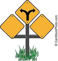 zöld fű, forgalom, sárga cégtábla