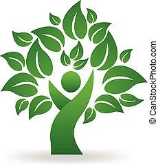 zöld fa, emberek, jel, vektor