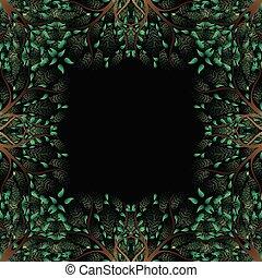 zöld fa, határ, elszigetelt, képben látható, fekete, background2