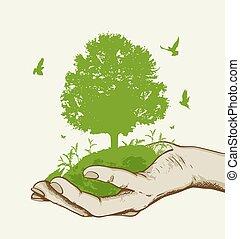 zöld fa, kéz