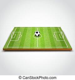 zöld foci, vagy, futball terep, noha, ball.