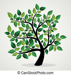 zöld, fogalom, fa