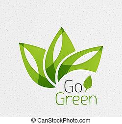 zöld, fogalom, levél növényen, ikon