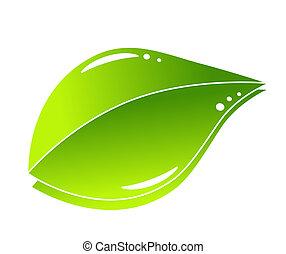 zöld, fogalom, levél növényen, természet