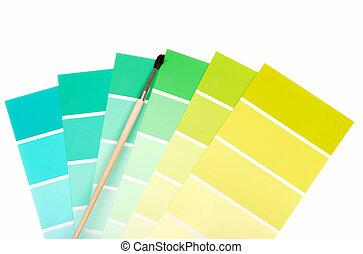 zöld, fordíts, kék, szín, festék, mintadarab