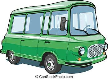 zöld, furgon, karikatúra